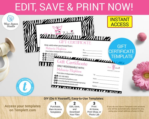 Pink zebra gift certificates template printable digital gift pink zebra gift certificates template printable digital gift card cash coupon independent consultant refer direct sales templett solutioingenieria Choice Image