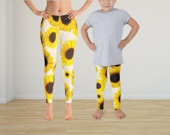 Mommy Daughter Sunflower Tights, Mom Daughter Leggings, Flower Leggings, Sun Flower Leggings Set, Yoga Leggings, Yoga Pants,Pattern Leggings