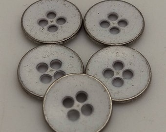 Vintage metal 4 hole Sew On Button, Distressed White Color, 10 Pcs, 18L (=11.6mm), Thickness 0.5mm
