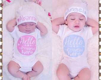 Twins, Hello - I'm New Here, Super Cute Onesies for Baby Girls, Boys or Combo, Cute Shower Gift, Comes With Monogrammed Caps
