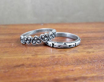 2 x 925 Sterling Stacking Rings – Size 6.5 & 7 – Vintage