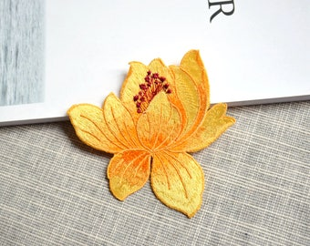 Yellow flower patch ,yellow flower embroidered Iron-on patch ,yellow flower embroidered patch