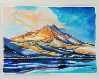 South Sister,Art print,Digital print,5x7,mountain art, landscape painting,pacific northwest,Oregon,Bend,Three Sisters,abstract art,alpenglow