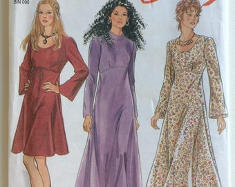 New Look sewing pattern 6265 -Misses' long bell sleeve empire line dress - size 6-16