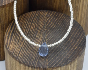 Iolite Drop Briolette Silver Toned Beaded Necklace 16""