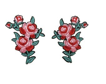 Pair of flower(17*15cm) Patch Embroidered Sew On Iron on Patch  Applique P68