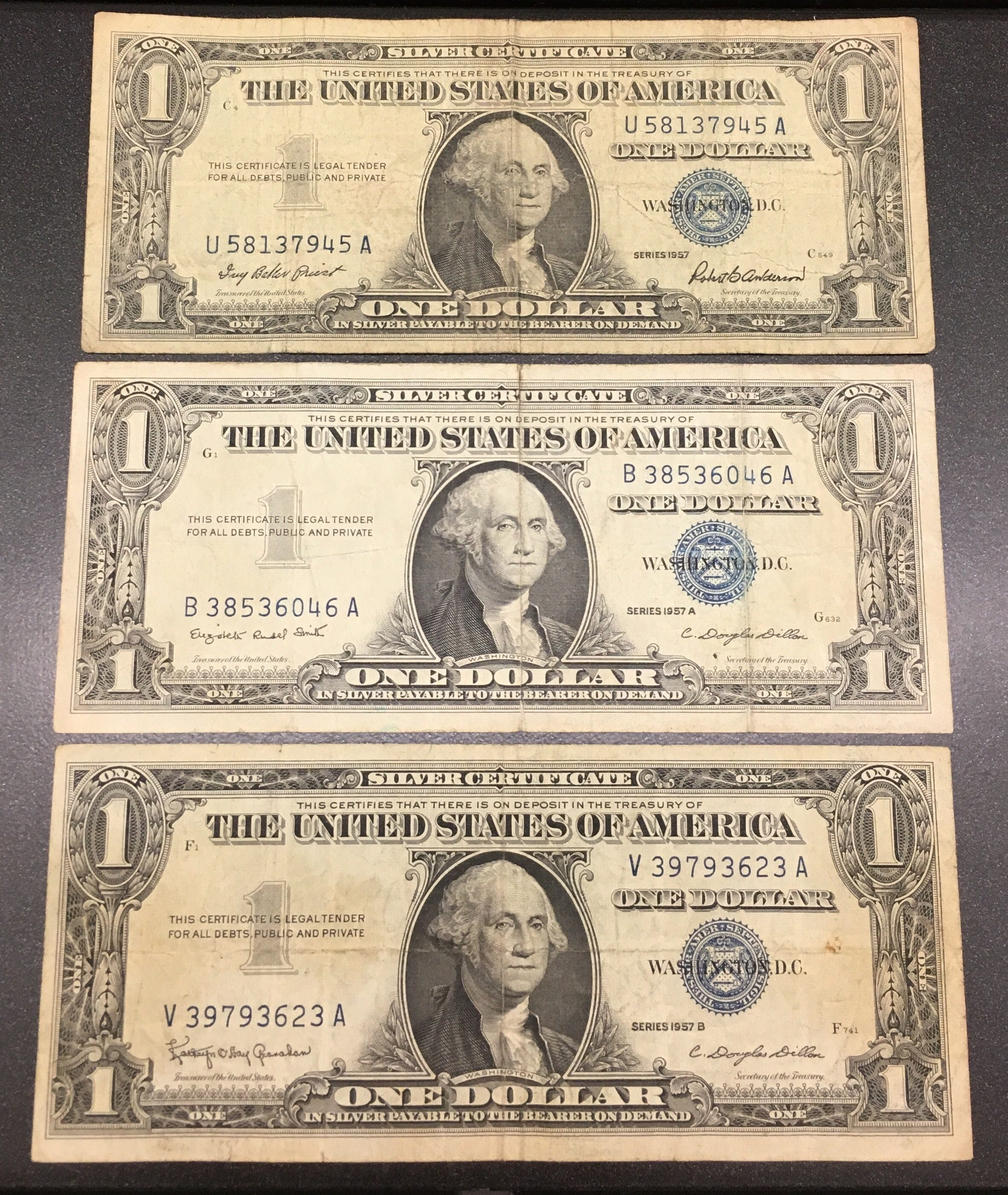 1957 silver certificates 1957 a 1957 b blue seal dollar bills 1957 silver certificates 1957 a 1957 b blue seal dollar bills set of 3 1betcityfo Images