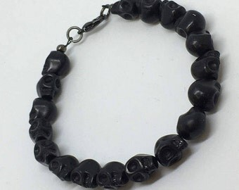 Black Skull Bracelet, Black Skull Jewelry, Goth Bracelet, Skull Stones, Black Skulls, Goth Beads, Black Goth Skulls