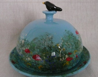Butter dish. Butter dome. Handmade butter dome. Cheese dome. Cheese bell. Bird watchers gift. Blackbird pot