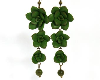 Succulent jewelry, Succulent earrings, Plant earrings, succulent gift, botanical jewelry, gift for mom, nature inspired, nature lover gift