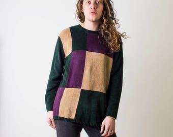 Vintage Velour Color Block Sweater