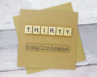 30th birthday card, Thirty Scrabble card, Funny thirtieth birthday card, Handmade Scrabble tile card, Happy Birthday card, 30