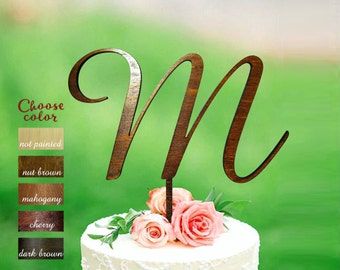 Letter m cake topper, wedding cake topper, cake toppers for wedding, monogram wood, rustic initial cake topper, m letter cake topper, CT#235