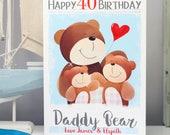 Daddy Bear 40th Birthday Card, Personalised Papa Bear Grandpa Bear, Dad Grandad Forty 40 Happy Birthday Milestone Age Card by Liza J design