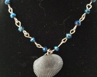 OOAK ball jointed doll SD one third blue beaded necklace bracelet set with natural grey seashell charm