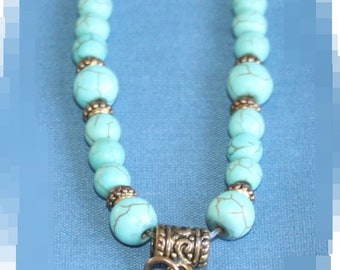 Turquoise and Gold Charm (Faith) Bracelet