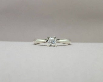 925 Sterling silver engagement ring - Engagement ring - Silver engagement ring - Promise ring - Solitaire ring - Zircon engagement ring