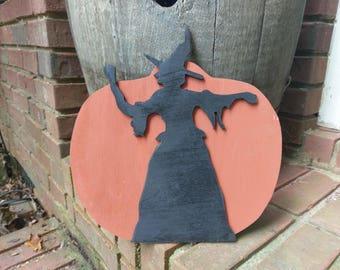 Halloween Witch on Pumpkin Wood Cutout