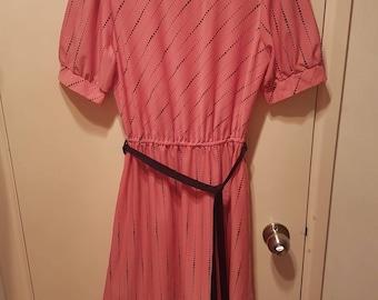 Pink and Black Spot Dress