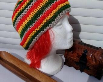 Rasta Beige hat, multicolor Rasta cap.