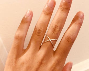 Minimalist 925 sterling silver bypass ring / ring thin cross / smooth elegant ring / delicate thin ring / open ring/rings/ring x X