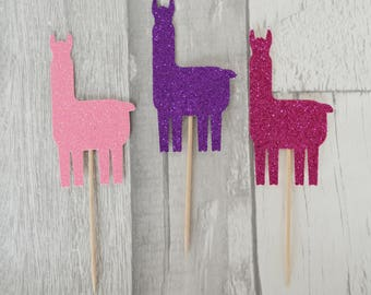 Llama Cupcake Toppers, Llama Party, Alpaca Cake Toppers, Mexican Party, Fiesta Decorations, Cinco De Mayo, Mexican Birthday, Fiesta Birthday