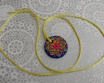 FREE SHIPPING / Hand Painted Necklace / Mandala / Dot Jewelry / Mandala Art / Dot Painted Pendant / Painted Wooden Necklace #A5