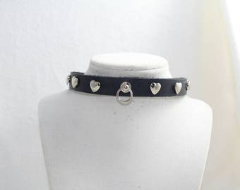 Black Leather Collar with Silver Heart Studs, Handmade Genuine Leather, O-ring and Silver Buckle