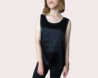 Black Silk Blouse, vintage silk blouse, black sleeveless silk blouse, minimal silk top, pure silk black top M L