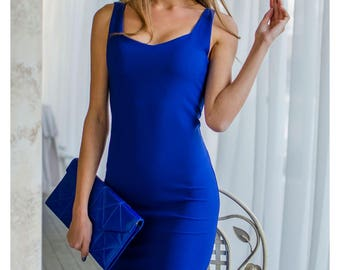 Elegant blue evening dress, midi dress, occasion dress, open neck tank bodycon dress, knee length dress
