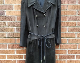 Loewe 1846 Black Suede Double Breasted buckskin Suede Trench Coat, Designer Suede Jacket with Silvertone Buttons & Tusk Like Details on Belt