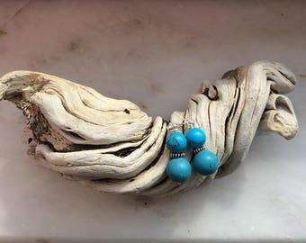 Sterling silver earrings, earrings with turquoise, bali earrings