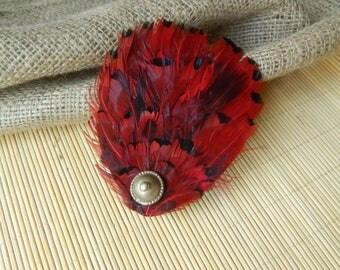 Burlesque Hair Piece Wine Hair Accessory Maroon Hair Clip Tribal Headpiece Feather Headpiece Fusion Hair Piece Fusion Head Piece