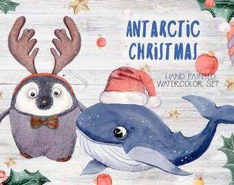 Antarctic Christmas Watercolor Clipart Set