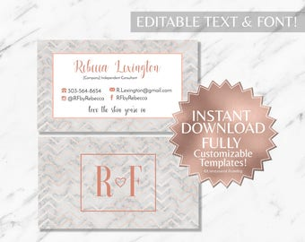 Rose Gold and Marble RF Business Cards INSTANT Template