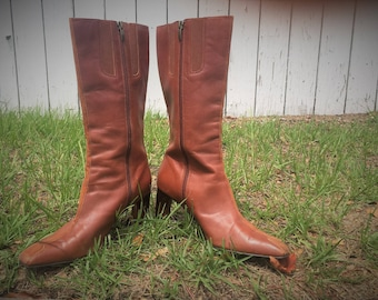 Anne Klein tall leather brown boots
