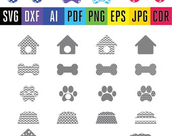 Paw print Svg Paw Patrol vector file Dog Love svg cut file Bone Dog house Dog food svg cut files for silhouette & cricut dxf eps png pdf