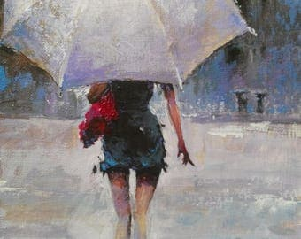 The girl with an umbrella