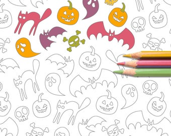 Neon Halloween Colouring Page
