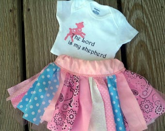 PSALM 23/ The Lord is my Shepherd - Skirt and Onesie Set