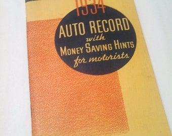 1934 Auto Record booklet / maintenance log