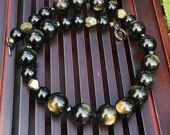 Golden Sheen Obsidian/Black Toumaline /Black Onyx/Pyrite Beaded Necklace. Healing Natural Gemstone Necklace.