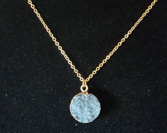 Large Gold Coated Grey Druzy Charm Necklace