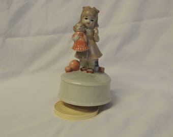 """Vintage Little Girl and Doll """"Toyland"""" Music Box"""