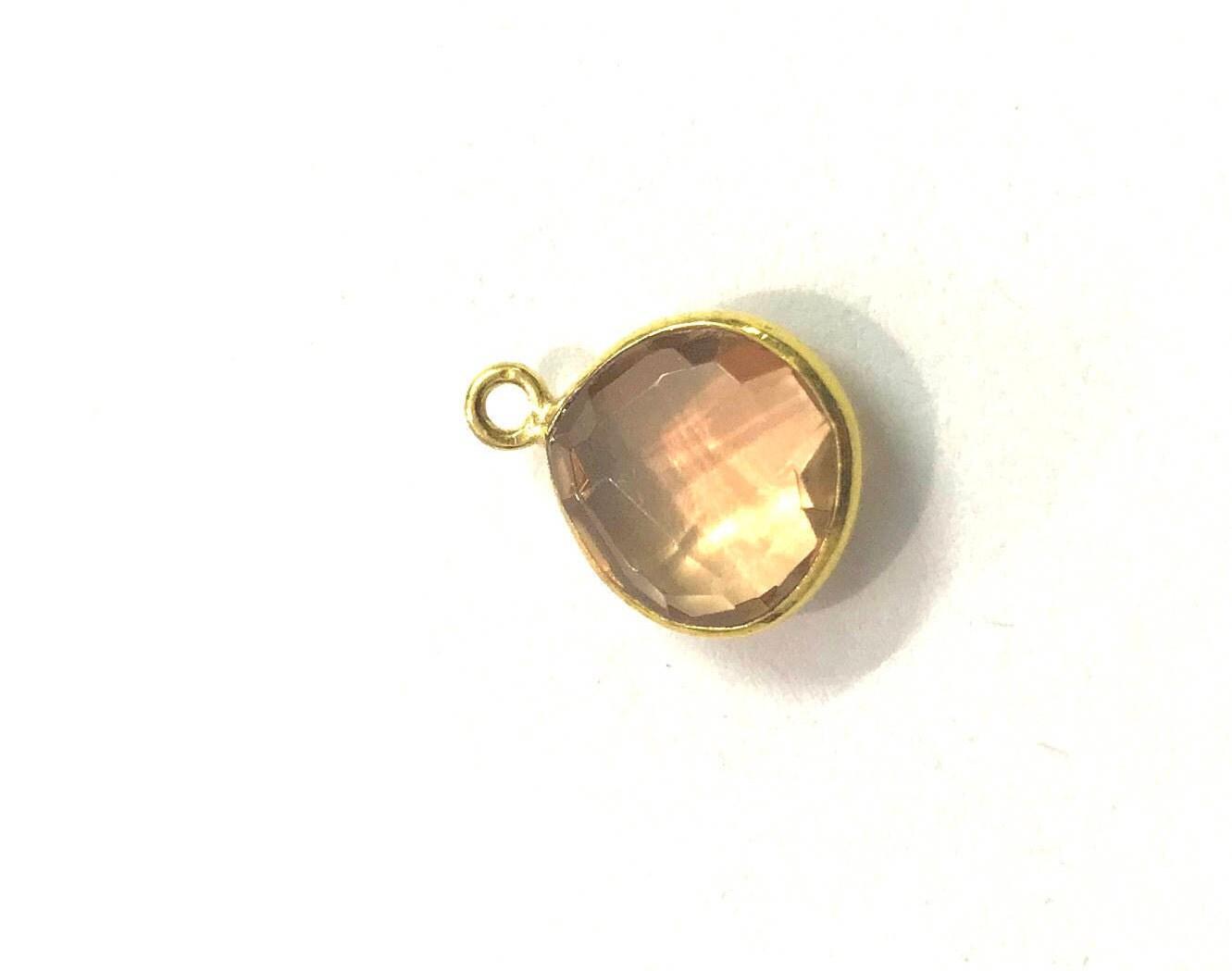 5 Pcs Gold Quartz Pendent Gold Plated Heart Shape Pendent ...