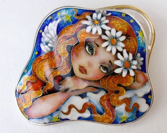 Angel in the clouds.  Necklaces, Pendant-brooch.  Cloisonne enamel