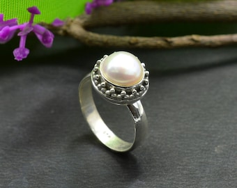 Natural Pearl Round Gemstone Ring 925 Sterling Silver R665