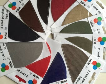 HKM 2x Cord Patches Oval - Elbow Knee Iron On - Assorted Colours