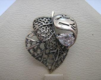 SOLID 925 Sterling Silver Pendant Leaf Leaves Openwork Filigree Pear White Stone Darkened Oxidized Blackening Russian Ukrainian Jewelry