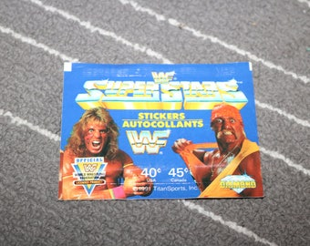 Hulk Hogan VS Ultimate Warrior WWF Superstars 1991 Wrestling Stickers from Italy WWE Vintage 1990s Wrestlemania